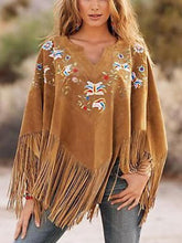 fahion peach collar loose pattern fringe cloak midi jacket