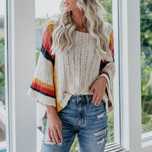 Sweet loose stitching knit rainbow sweater