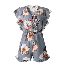 Holiday Print V-neck Ruffled Romper-2color