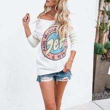 Sexy Open Shoulder Long-Sleeved Printed Sweatshirt