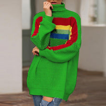 Loose High Neck Stitching Sweater