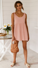 Pink Solid Color High Waist Dress