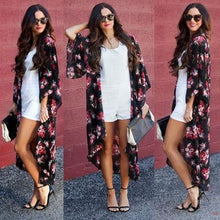 Gosfashion Casual Printed Chiffon Irregular Cardigan