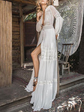 Dovechic Deep V-neck See-through Puff-sleeves Maxi Dress