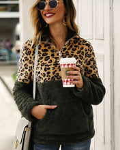 Autumn Green Leopard Stitching Zip Fuzzy Sweaters