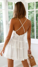 White V-neck lace Strap Dresses