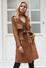 Camel Suede Lace Up Trench Coats