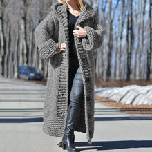Simple Women Hooded Solid Color Long Cardigan