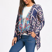 Lapel ethnic style floral woven coat