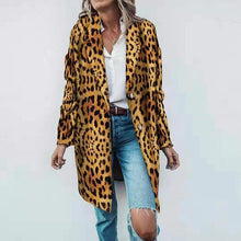Women's Fashion Leopard Printed Colour Overcoat