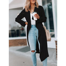 Fashion Solid Colour Long Sleeve Loose Trench-Coat