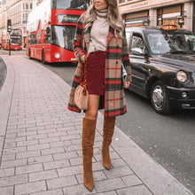Fashion Contrast Color Plaid Double-breasted Wool Coat
