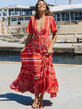 Dovechic Split-joint Printed Bohemia Maxi Dress