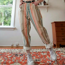 Women's Color Striped Straight Trousers