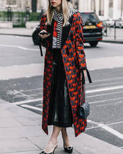 Fashion lady print long coat trench coat