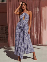 Dovechic Printed Sexy Open-back Maxi Dress