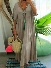 V Neck Women Dresses Going Out Paneled Casual Cotton Dresses