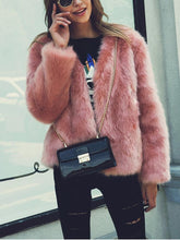 Fashion Faux Fox Fur Grass Solid Color Long Sleeve Jacket