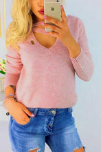 Deep V Neck  Hollow Out Plain Sweaters