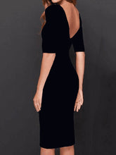 Boat Neck  Plain  Blend Bodycon Dress