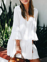 White Patch Solid Long Sleeve Casual Dresses