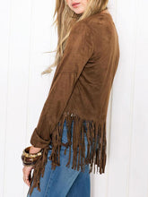 Collarless Fringe Plain Long Sleeve Cardigans
