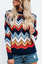 Crew Neck  Contrast Stitching  Striped Sweaters