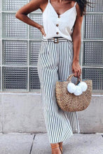 Belt Loops Striped Casual Pants