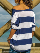 Blue And White Striped Off-Shoulder Bat Long-Sleeved T-Shirt