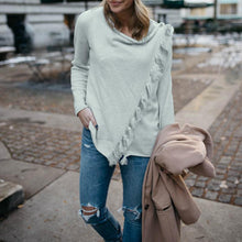 Fashion Tassels Long Sleeve Plain Asymmetrical Sweatershirt