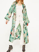 Fashion Floral Printed Kimono Lace Up Cardigan