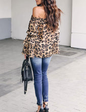 Leopard Printed Off Shoulder Flare Long Sleeve Sexy Blouses