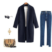 Fashion Lapel Collar Plain Woolen Long Coat