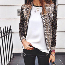 Stand Collar Printed Casual Jacket Coat