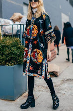 Vintage Loose Short Sleeve Printed Long Coat