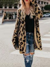 Collarless  Flap Pocket  Leopard Printed Outerwear