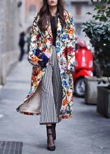 Turndown Collar   Printed Colour Long Sleeve Coat