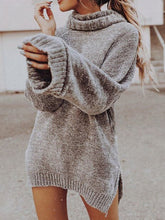 Cowl Neck Slit Plain Sweaters