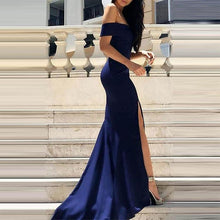 Dark Blue Off Shoulder Split Sleeveless Evening Dress