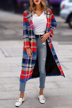 Fashion Lapel Collar Red Blue Check Printed Woolen Loose Long Coat
