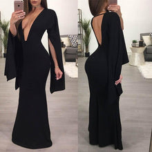 Deep V Collar Backless Irregular Sleeve Evening Dress