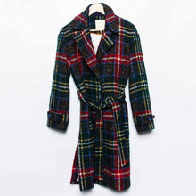 Chic Lapel Collar Check Woolen Loose Long Coat