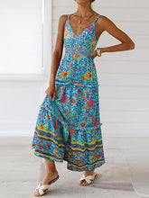 Dovechic Slit Down Floral Printed V-neck Maxi Dress