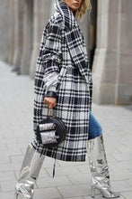 Fold Over Collar Checkered Outerwear