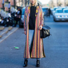 Retro Colorful Stripe Side Split Fashion Coat
