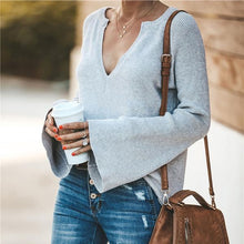 V Neck Plain Bell Sleeve Sweaters