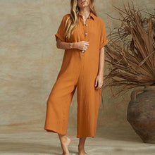 Button cotton and linen collar single jumpsuits