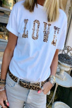 Round Neck Leopard Letters T-Shirts