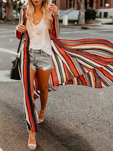 Vacation Casual Striped Long Sleeve Chiffon Shirt Sun Protection Blouse