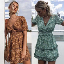 Fashion Print V-neck Print Dress-2color